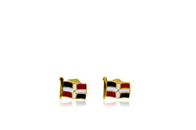 14K Yellow Gold Dominican Flag Stud Earrings 40002298