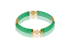 14K Yellow Gold Dyed Green Jade 7-inch Bracelet 22000727
