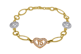 14K Tri Color Gold 15 Anos Birthday Cubic Zircon Heart Bracelet