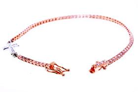 """14K Pink Gold 7.25"""" Diamond Bracelet With Cross"""