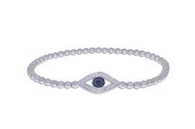"Sterling Silver 7"" Diamond Evil Eye Expansions Bracelet"