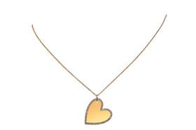 14K Yellow Gold Diamond Engravable Heart Necklace