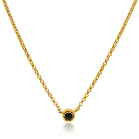 14K Yellow Gold Bezel Set Sapphire Necklace