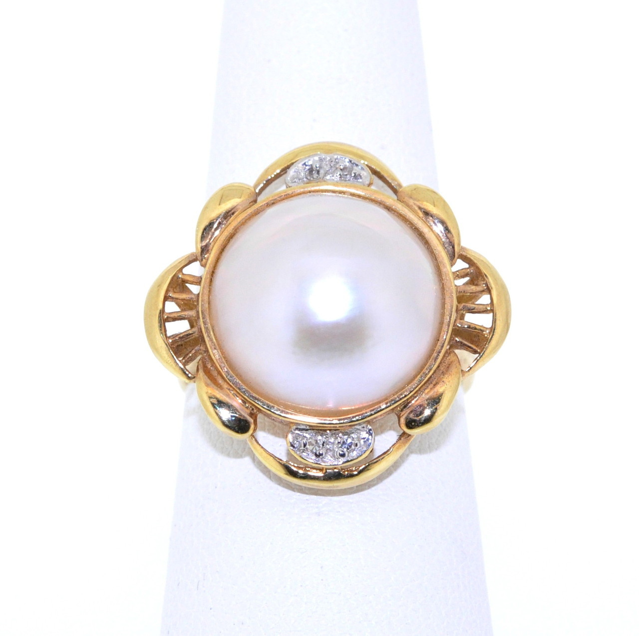 60b8749229197f ... 14K Yellow Gold Salt Water Pearl and Diamond Ring 12000905. Image 1