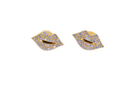 14k Yellow Gold Diamond Lip Earrings
