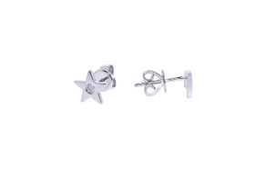 14K  White Gold Diamond Moon And Star Studs earrings 41002144
