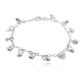 "Sterling Silver 7"" Diamond-cut Balls and Hearts Bracelet 82010656"