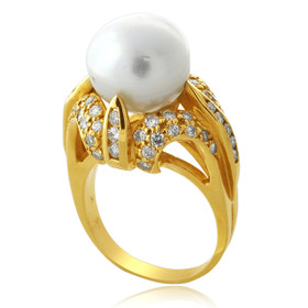 14K Yellow Gold South Sea Genuine Pearl and Diamond Ring