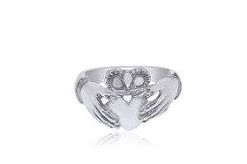 14K White Gold Irish Claddagh Ring 10000070