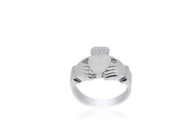 14K White Gold Irish Claddagh Ring 10000528