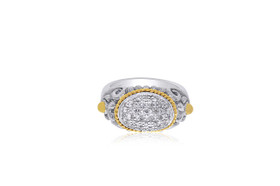 Sterling Silver and 18K Yellow Gold Plated Diamond  Ring