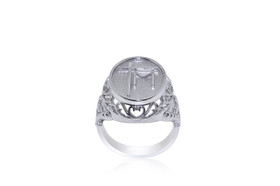 Sterling Silver Cross and M Initial Ring