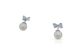 14K White Gold Cubic Zirconia Pearl Earring