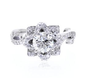18K White Gold Rose Diamond Engagement Ring 11005680 -R
