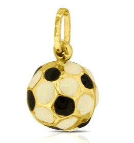 14K Yellow Gold enamel Soccer Ball Charm