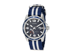 Men's Citizen Eco-Drive Power Reserve Striped Nylon Strap Watch AW7038-04L