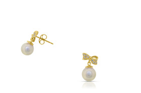 14K Yellow Gold Cubic Zirconia Pearl Earring 42002763