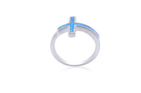Sterling Silver Inlay Opal Cross Ring 81010558-E