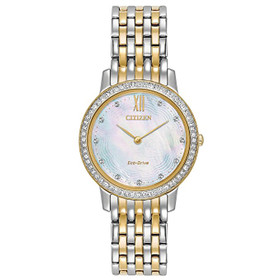Ladies' Citizen Eco-Drive Silhouette Crystal Two-Tone Watch EX1484-57D