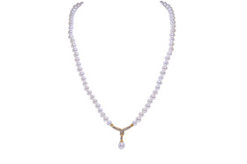 10K Yellow Gold Fresh Water Pearl And Diamond Necklace