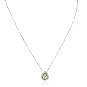 14K White Gold Pear Shaped Diamond Necklace