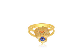 14K Yellow Gold Synthetic Blue Sapphire Flower Ring 12002640