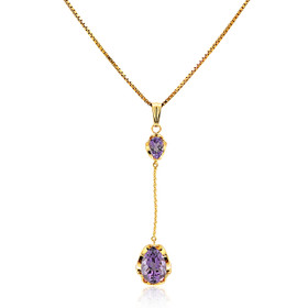 14K Yellow Gold Amethyst Drop Pendant