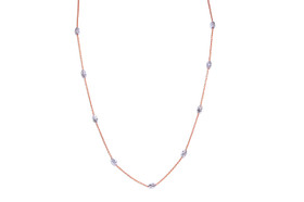 "Sterling Silver 17"" Rose Gold Plated With Oval Bead Cut Necklace"