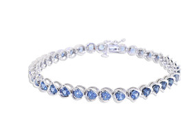 14K White Gold Blue Topaz Bracelet 22000748