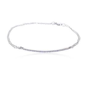 """14K White Gold 7""""Diamond Bar Bracelet"""