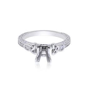 14K White Gold 0.10 ct. Diamond Engagement Ring Setting