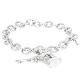 "Sterling Silver 7.5"" 0.20 ct. Diamond Toggle Lock  Bracelet  82010527"