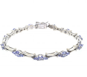 "Sterling Silver 7.75"" Synthetic Tanzanite CZ Bracelet 82210078"