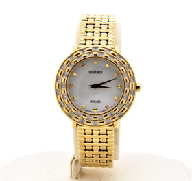 Seiko Women's Tressia Gold Tone Stainless Steel 36 Diamond Solar Watch SUP374