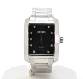 Seiko Men's Diamond Dial Solar Stainless Steel Watch SNE461