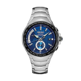 Seiko Men's Blue Dial Coutura Radio Sync Duel Time Watch SSG019