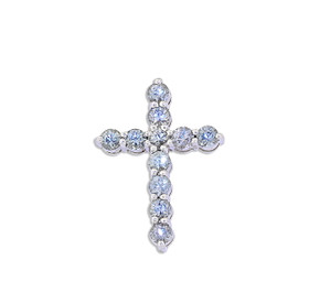 14K  White Gold Blue Topaz Cross Charm 52001913