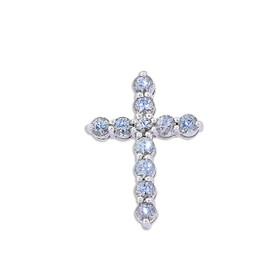 14K  White Gold Blue Topaz Cross Charm 52001913