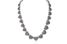 Sterling Silver Hearts Graduated Marcasite Necklace