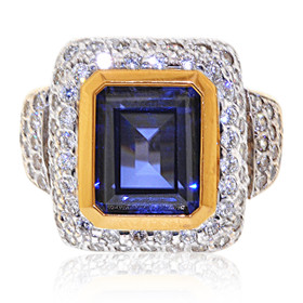 Fancy 14K Yellow Gold Blue And White Cubic Zirconia Ring 12002651