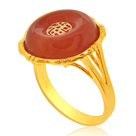 14K Yellow Gold Agate Good Luck Ring  12002650