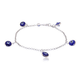 Sterling Silver Evil Eye 7 Inches Bracelet