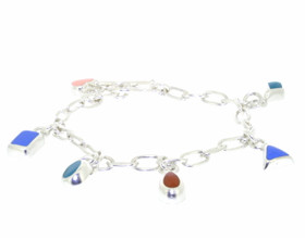 "Sterling Silver 8"" Charm Bracelet With Enamel Charms"