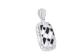 Sterling Silver In Lay Onyx  and Mother of Pearl Charm