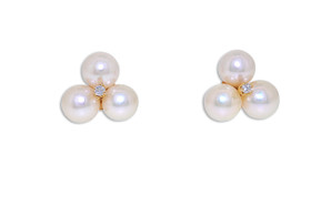 14 K Yellow Gold Cubic Zirconia Fresh Water Pearl Fancy Post Earrings