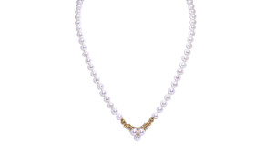 "14K  Yellow Gold 16"" Freshwater Pearl Diamond Drop Necklace"
