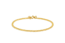 "14K Yellow Gold 7"" Shiny Round Beads Bangle 23000161"