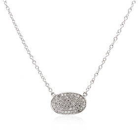 14K White Gold Fancy Diamond Pave Pendant Necklace 31000762
