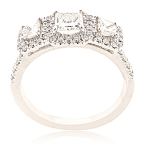 14K White Gold 3-stone Princess Cut Diamond Ring