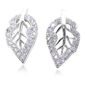 Sterling Silver Cubic Zirconia Leave Postback Earrings  84210201
